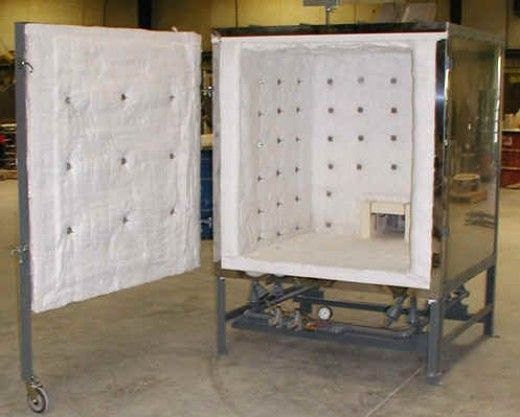 Gas kiln - A large front load gas kiln for firing pottery and ceramics. A gas kiln is ideal for reduction firing up to stoneware/porcelain temperatures. This kiln is made of ceramic fibre. Image Credit: Olympic kilns http://www.Bigceramicstore.com