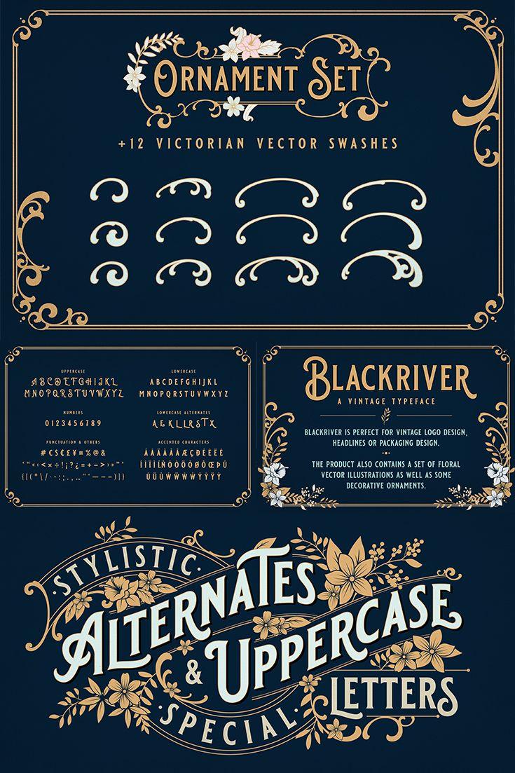 Blackriver Font Ornaments In 2020 Vintage Logo Design Vintage Fonts Photoshop Design