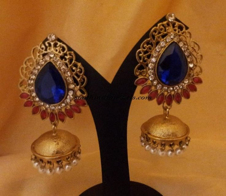Designer Jewellery : Colorful stone antique jhumkas - South India Jewels