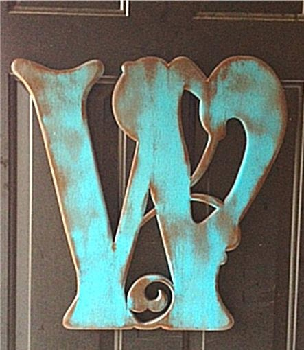 Wooden door hanger W by RKDragonfly on Etsy