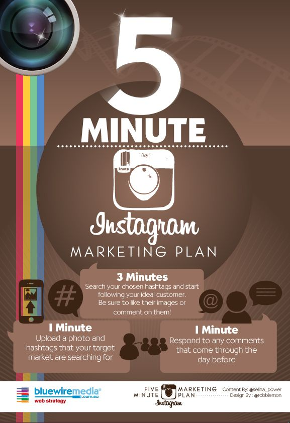 #Instagram Infographic - 5 minute marketing plan for Instagram #Infographic