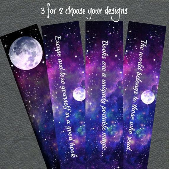 Watercolour galaxy quote bookmarks/6 styles to choose from ...