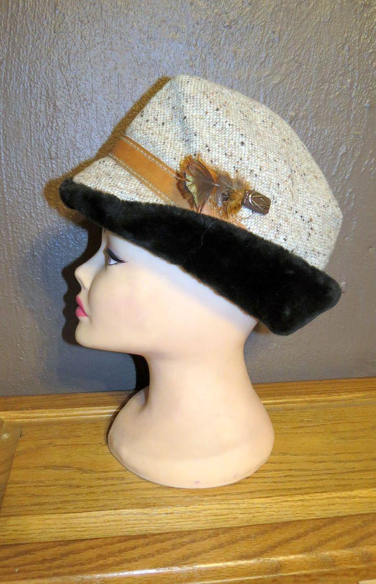 Vintage Men's Tweed Fedora Faux Fur Hat with Ear Flaps,  Fur Fedora, Feather accent, Men's Fur Hat, Men's Tweed Fedora, Vintage Fedora by GlancesBackVintage on Etsy