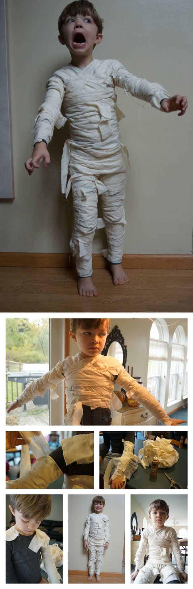 Check out 9 DIY Mummy Costume Ideas at https://diyprojects.com/diy-mummy-costume-ideas/