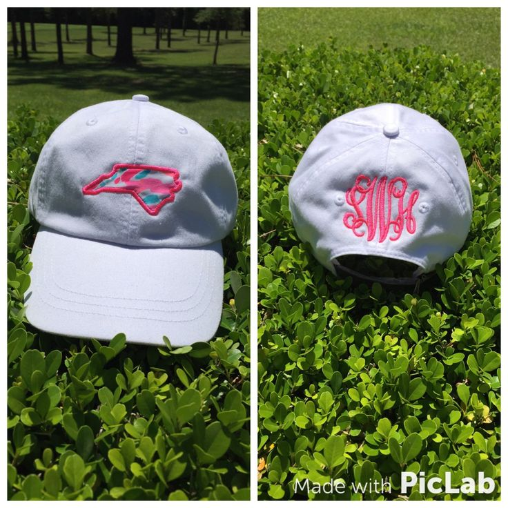 Monogram State Hat with Lilly Pulitzer fabric by TantrumEmbroidery on Etsy