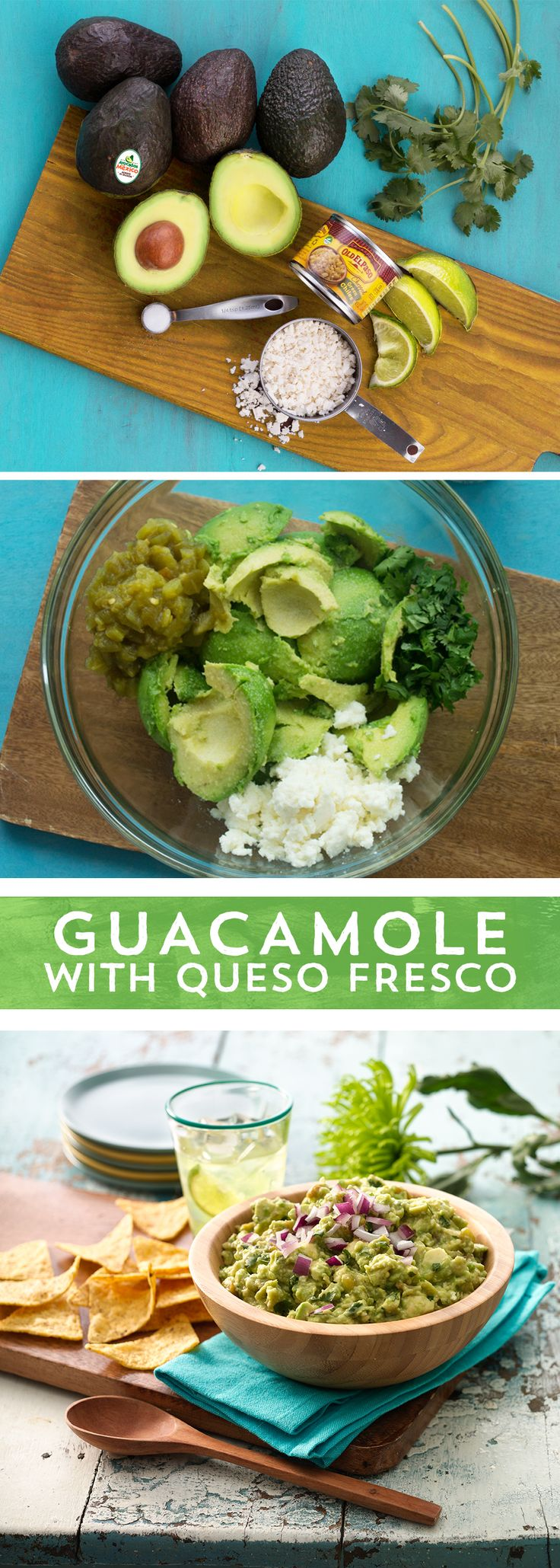 A party isn't started until there's guacamole on the table! This Guacamole with Green Chiles and Queso Fresco is a fun twist on the traditional recipe. Start with ripe Avocados from Mexico™, mash and combine with cilantro, salt, cheese and Old El Paso Chopped Green Chiles™, and serve with your favorite chips! This simple 15-minute recipe is sure to score big with your Game Day crowd!