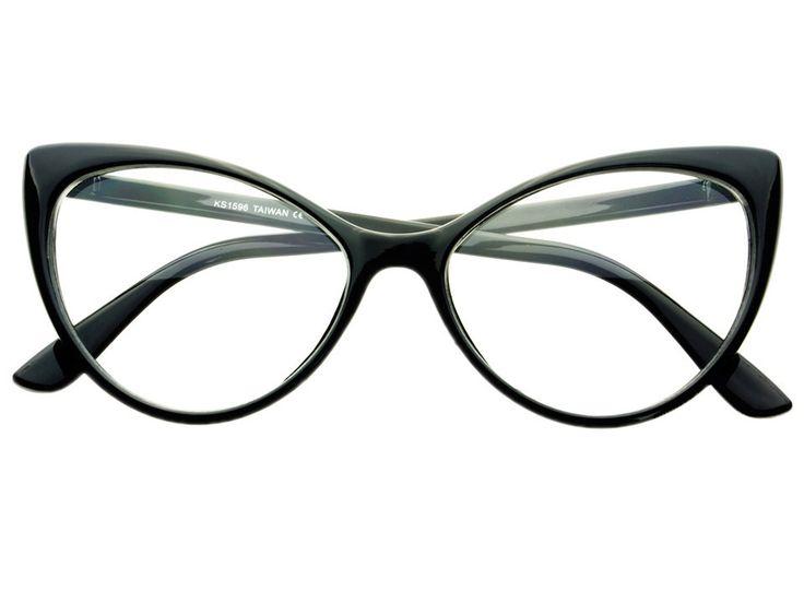 Clear Lens Retro Large Womens Cat Eye Glasses Frames Black C761