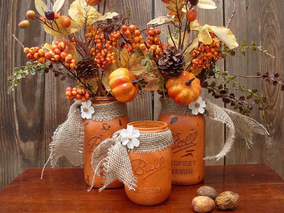 Set of 3 Mason Jars, Rustic, Chalk-Painted, Farmhouse, Country Living, Autumn Decor, Centerpiece, Table Top