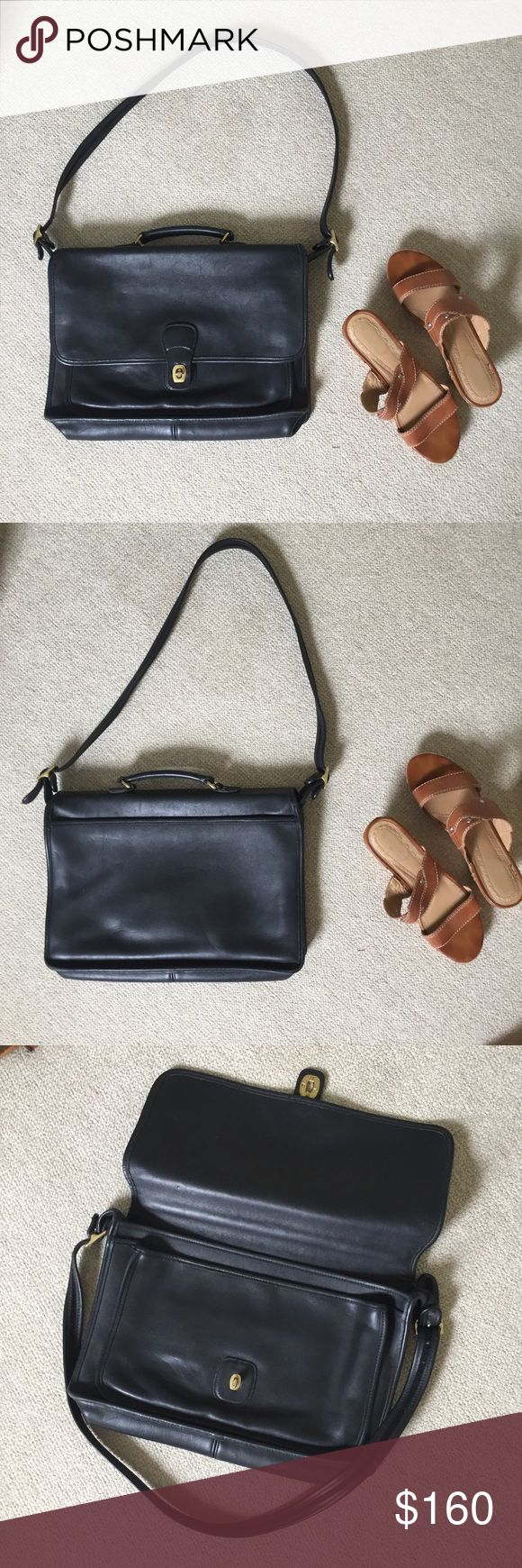 Vintage Coach Leather Briefcase/Laptop Bag Gorgeous Coach leather bag in amazing condition. Can be used as a briefcase or laptop bag. It's black leather but looks like dark grey with a blueish tone. No major flaws at all for a used bag. 100% leather. Coach Bags Crossbody Bags