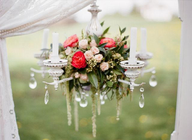 Vintage chandelier with flowers | Kirill Bordon Photography | see more on: http://burnettsboards.com/2014/07/fiery-orange-1930s-wedding-inspiration-shoot/