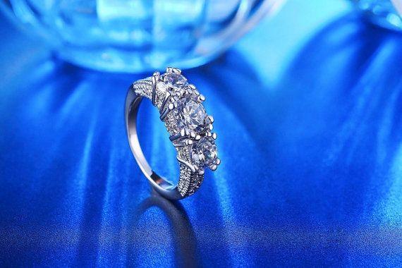 Three Stone Round Cut Engagement Ring Wedding by DesignByIrenne