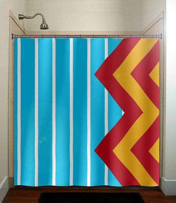 Large Blue Stripe Yellow Red Giant Chevron Shower Curtain Bathroom Decor  Fabric Kids Bath Window Curtains Panels Valance Bathmat