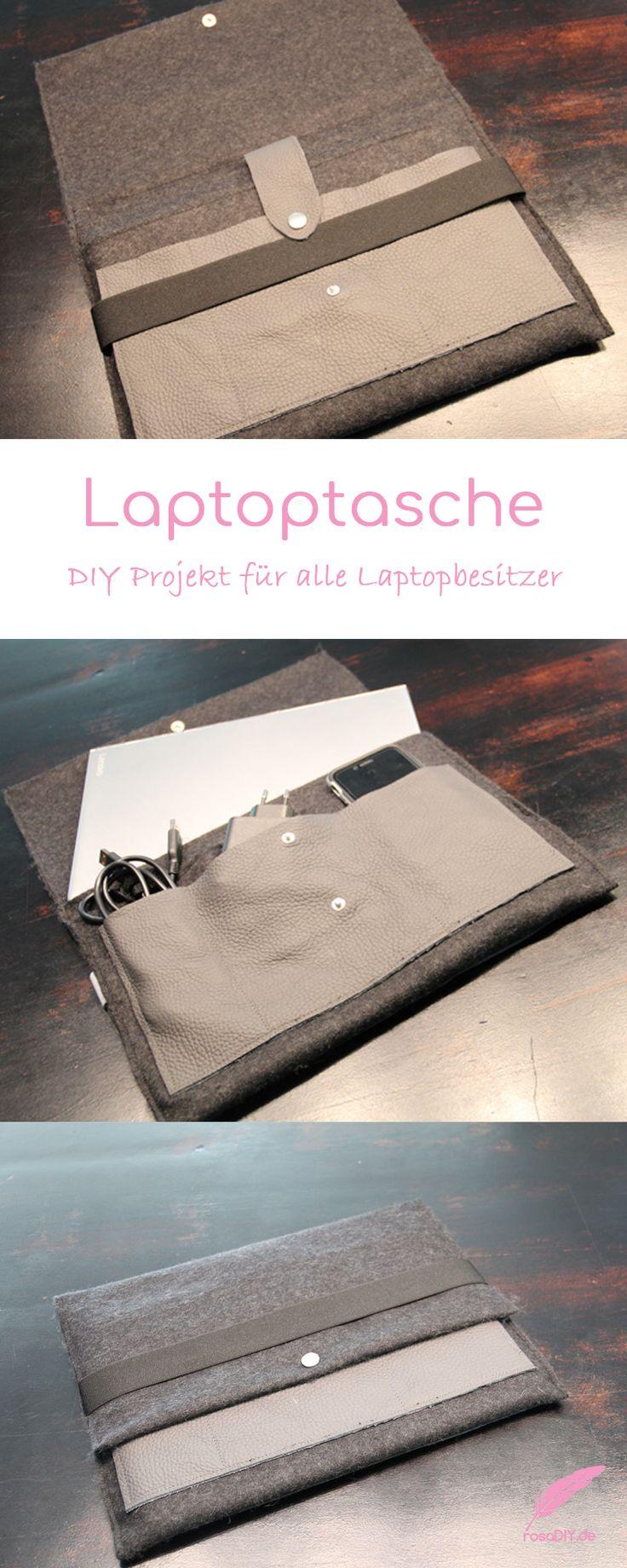 DIY Laptoptasche. Das ultimative DIY für jeden Laptopbesitzer. Aus Filz und Leder besonders schnell genäht!