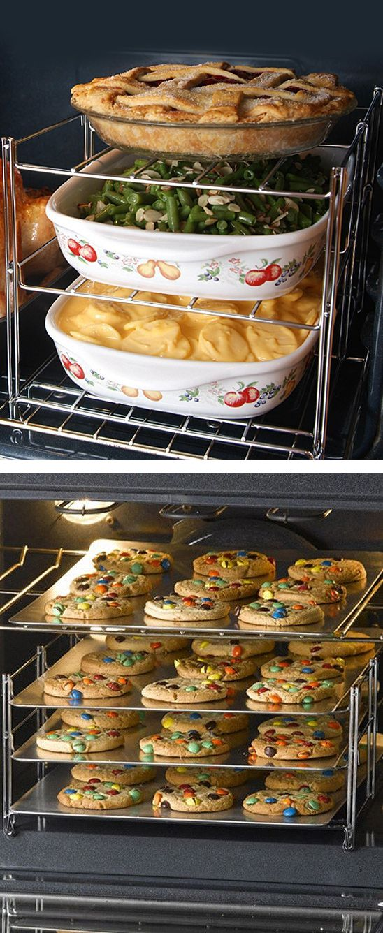 Three-tier baking rack insert - maximises oven space for cookies, a mini pizza party or other big baking projects #product_design
