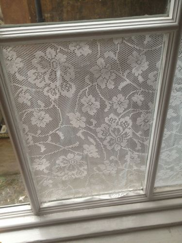 """Lace cornstarch window treatment 2 T cornstarch, 2 T. water, mix. Add 1 1/2 cups boiling water-makes a jelly type. Paint on window. Cut lace to fit and """"paint"""" it on using the cornstarch pain."""