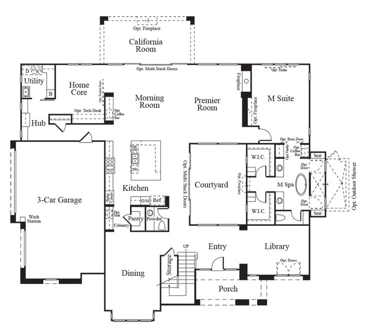 Townhouse Floor Plan 3 Car Garage Google Search: Home Plans With 4 Car Tandem Garage 1 Story