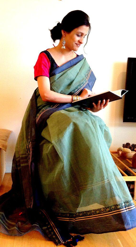 Blue green saree cotton saree / light by TheFarEastArtStudio