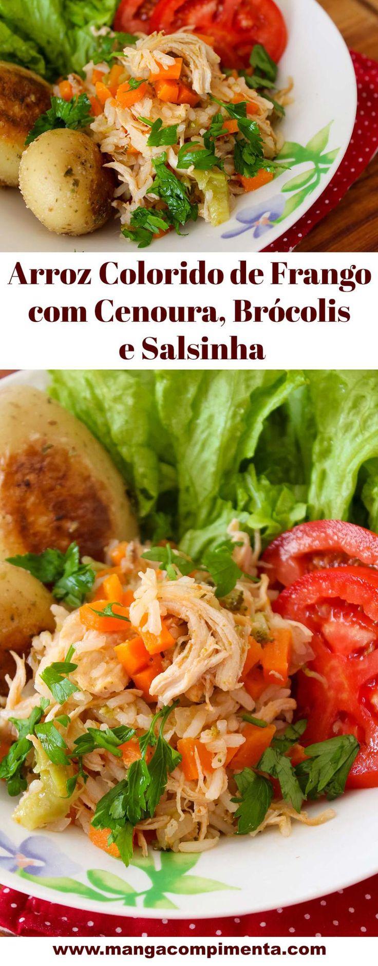 Arroz Colorido de Frango com Cenoura, Brócolis e Salsinha. #receita #comida #comidadeverdade #arroz