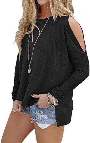 683b515d508a8 Kuraki Women Cold Shoulder Long Sleeve Jersey Tops Sweater Shirt lage black  Perfect for day or after dark