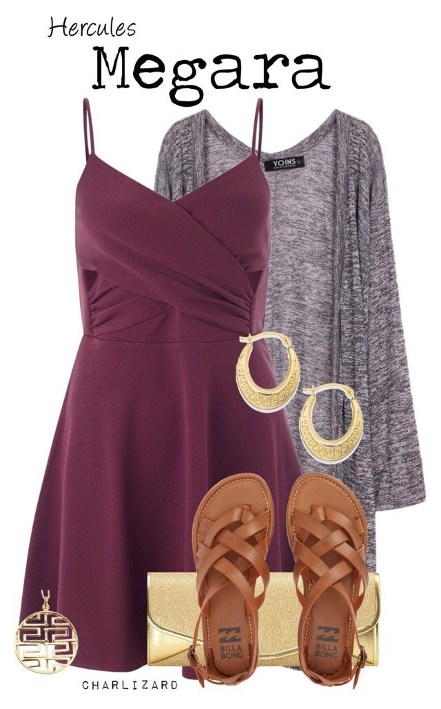 """Megara"" by charlizard ❤ liked on Polyvore featuring Miss Selfridge, J. Furmani, Billabong, Simone I. Smith, purple, disney, hercules, skaterdress and Megara"