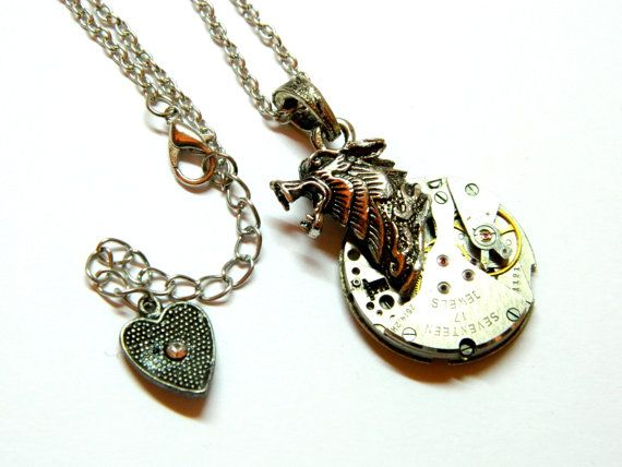 Steampunk jewelry necklace Wolf moon silver by EmilySteampunk