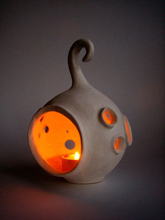 "Ceramic lantern ""Moon"" - Handmade ceramic lantern - Candle holder, luminary"