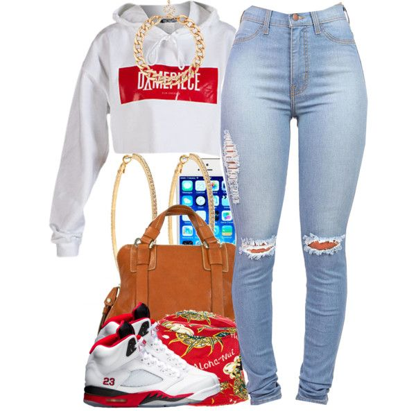 A fashion look from August 2014 featuring white hoodie, light wash high waisted jeans and brown handbags. Browse and shop related looks.