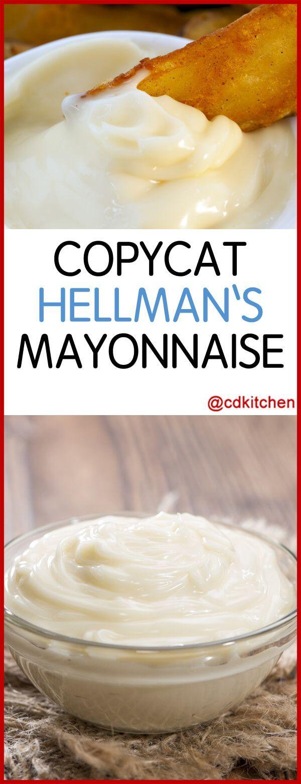 Copycat Hellman's Mayonnaise - Recipe is made with egg, dry mustard, salt, oil, cayenne pepper, lemon juice or vinegar | CDKitchen.com