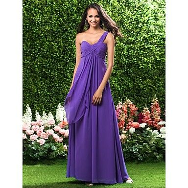 Sheath/ Column One Shoulder Empire Floor-length Chiffon Bridesmaid Dress – USD $ 99.99 lightinthebox.com