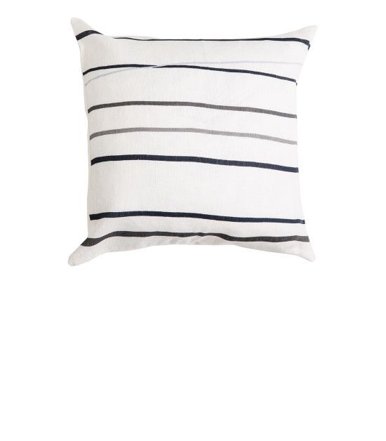 THE HARVEY SQUARE LINEN CUSHION - Grey Stripes with Natural Piping. Shop here: http://kateandkate.com.au/shop/collections/the-harvey-square-linen-cushion-grey-blue-stripes-with-natural-piping/ //  #exhalebykateandkate #kateandkate #kkcushions #cushion #interior #design #home #bed #bedroom #lounge #inspo #textiles #grey #stripes