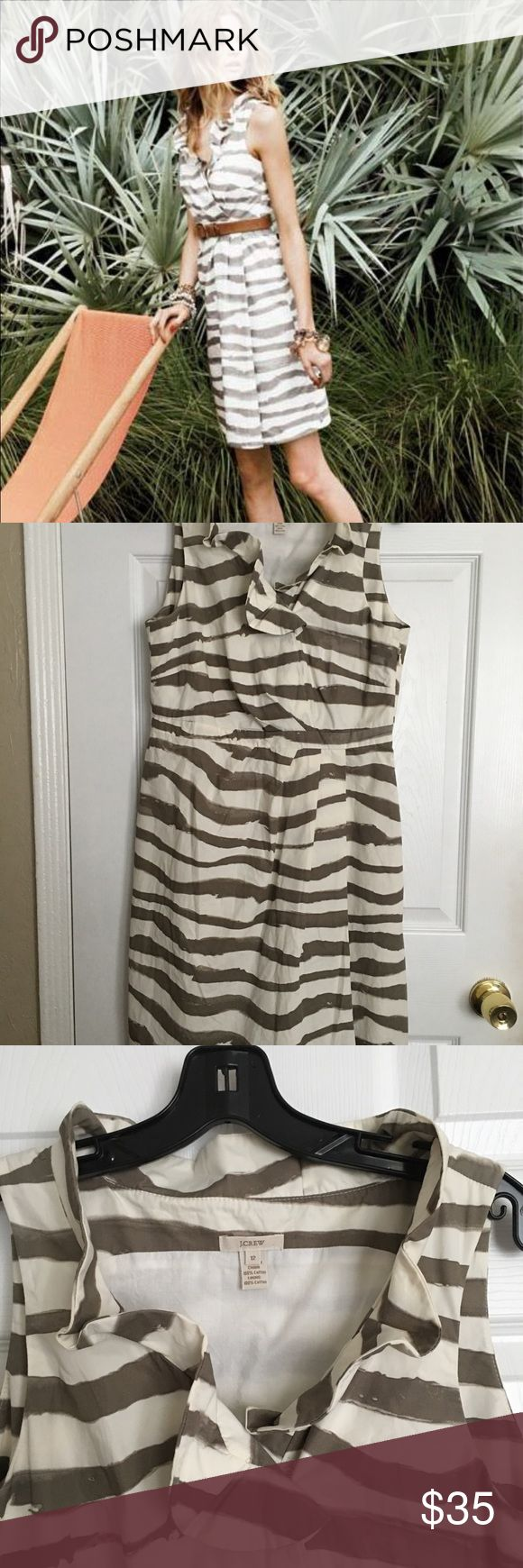 J. Crew zebra print dress Nice zebra printed dress with ruffle neckline and fitted waist. It has a side zipper and a linen lining in the skirt. It's in a great used condition no flaws. 100% cotton dress 100% linen lining J. Crew Dresses