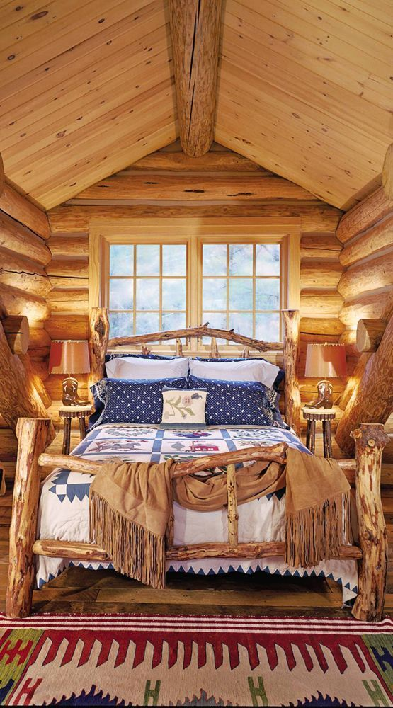 248 best dream home images on pinterest for Hunting cabin bedroom
