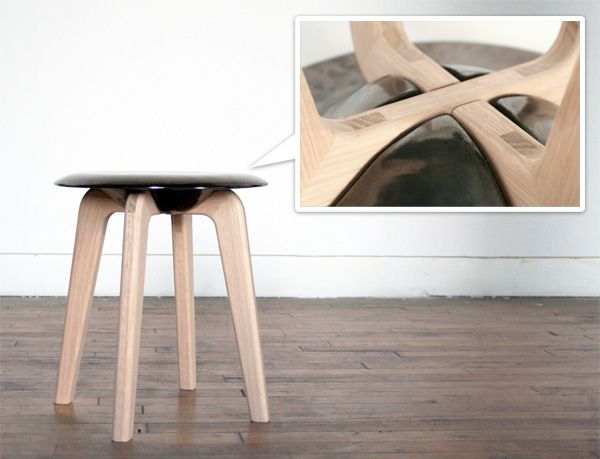 Ceramic Seat With Wood Legs