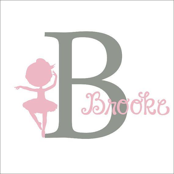 Ballerina Vinyl Decal Set Personalized Initial Monogram Ballet Girl Nursery Bedroom Housewares on Etsy, $34.00