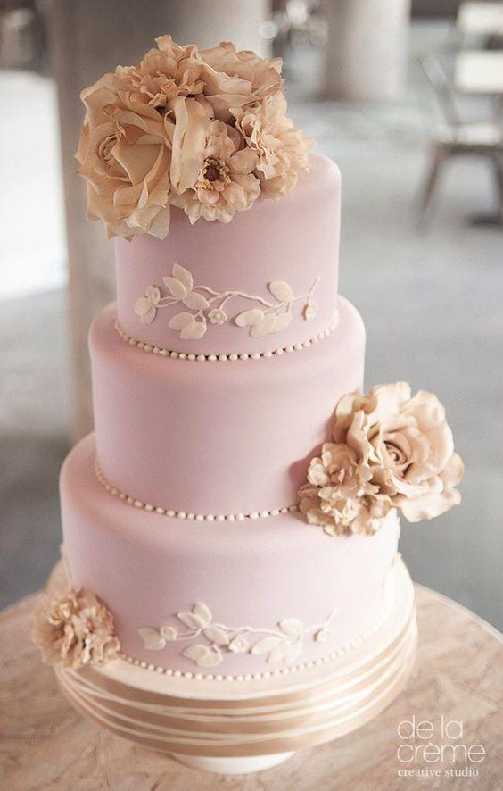 Adorable three tier light pink wedding cake with gorgeous details; Featured Cake: De la Creme Studio