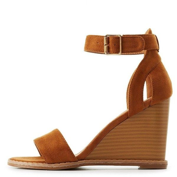 Qupid Two-Piece Wedge Sandals ($21) ❤ liked on Polyvore featuring shoes, sandals, camel, wedge heel sandals, rubber shoes, platform wedge shoes, cut out sandals and cushioned sandals