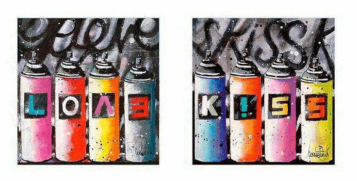 Premium Picture Deco-Panel »Spraydosen: Love and Kiss«, 2x 30/30 cm Jetzt bestellen unter: https://moebel.ladendirekt.de/dekoration/bilder-und-rahmen/bilder/?uid=8d7cd4be-b284-5c05-a704-649f8638b300&utm_source=pinterest&utm_medium=pin&utm_campaign=boards #zubehör #bilder #rahmen #dekoration