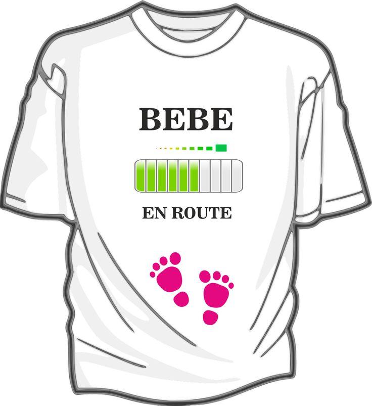 Bébé en route - tee-shirt blanc coton femme