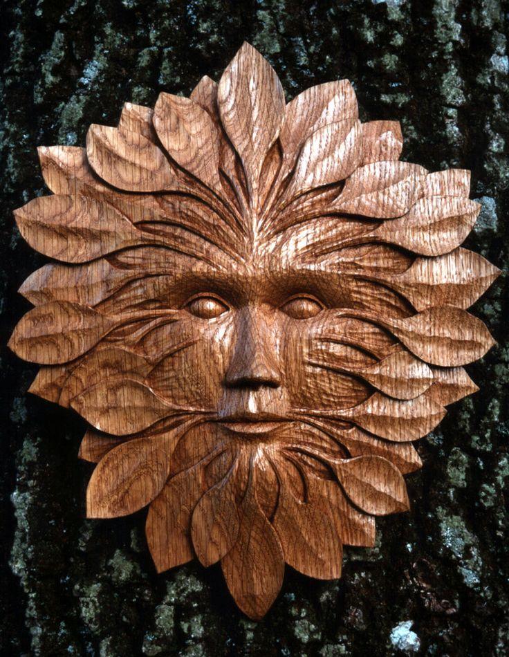 Oak Woodcut - Green Man