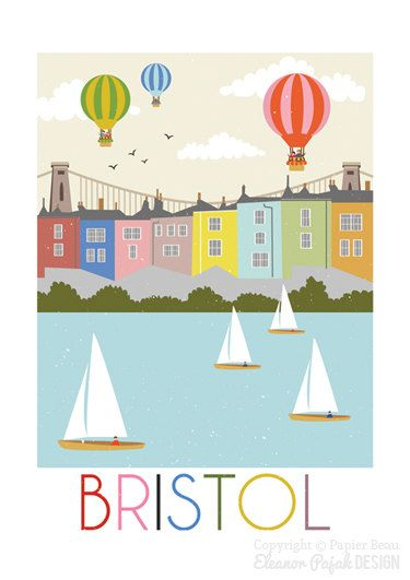 Bristol is a print reproduced from my original digital illustration.  This is an unframed, high quality, signed giclee print, printed onto a very nice