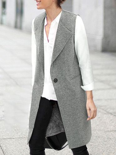 Lapel Single Button Pockets Long Grey Vest 23.00
