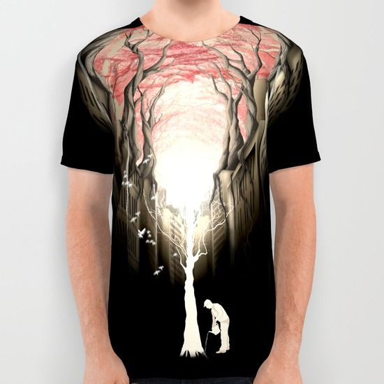 Revenge+of+the+nature+II:+growing+red+forest+above+the+city.+All+Over+Print+Shirt+by+Rafapasta+-+$34.00