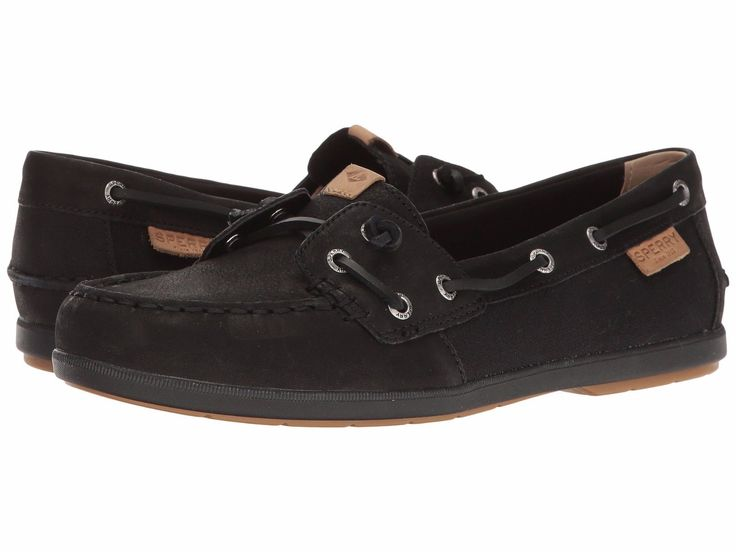 Sperry Top-Sider Women's Coil Ivy Leather Canvas Black Boat Shoes Sizes 8.5-10 M
