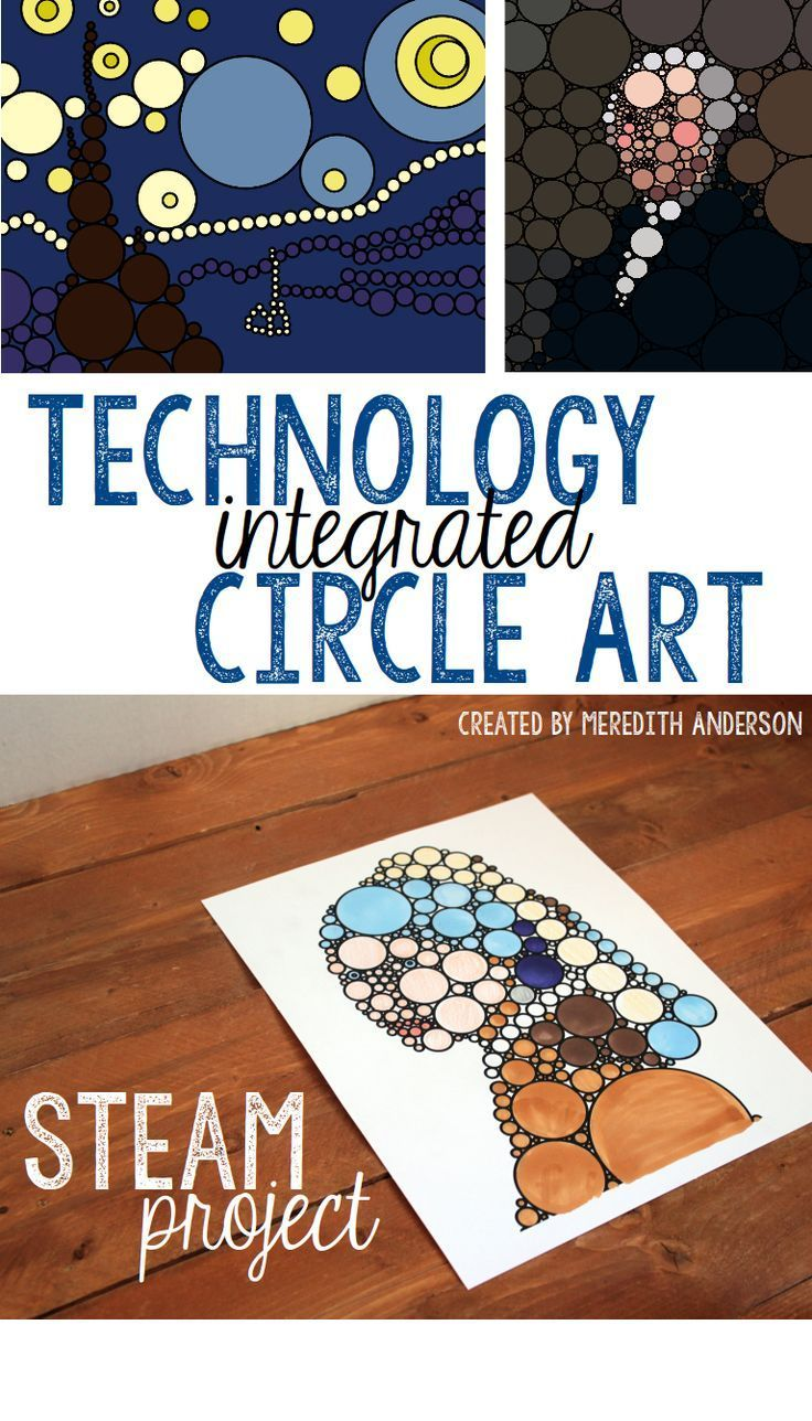 STEAM circle art project - Print the premade templates or learn how to create your own design from any picture. A fun project based learning activity that is great for Pi Day and beyond.   Meredith Anderson