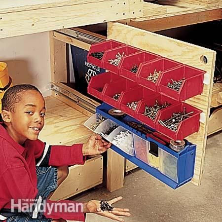 Slide-out storage bins
