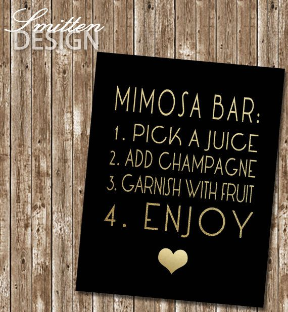 Gold and black bridal shower Mimosa Bar sign-Printable