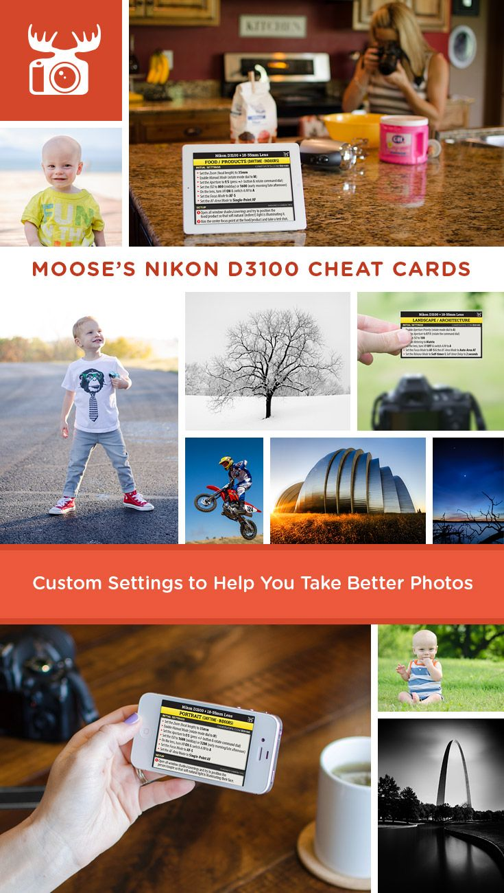 Well you asked for it, so here it is... over the past several months I've been using the Nikon D3100 along with several lenses to figure out the best settings for a wide variety of subjects and scenes. I'm super stoked to announce the availability of 4 new cheat card sets for the D3100. Check them out: http://www.cameratips.com/d3100/cheat-cards