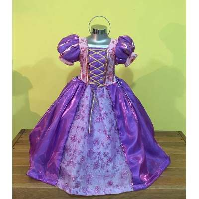 Vestido Rapunzel, Tiara, Guantes Y Peluca - $ 950.00