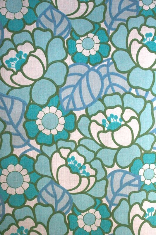 This is an original retro wallpaper from the 1960s 70s in the colour blue.
