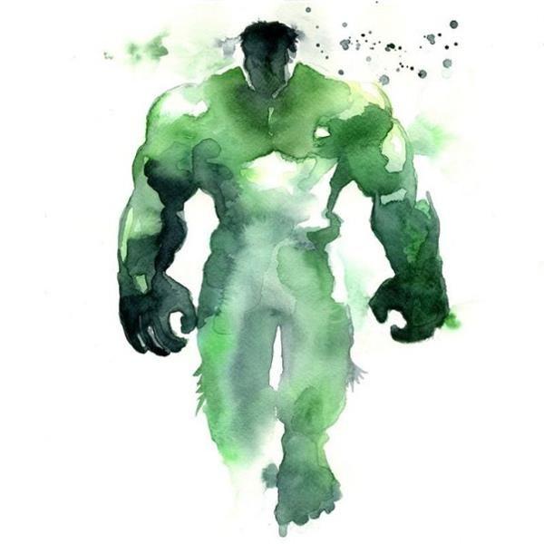 The Hulk Watercolor Art Print